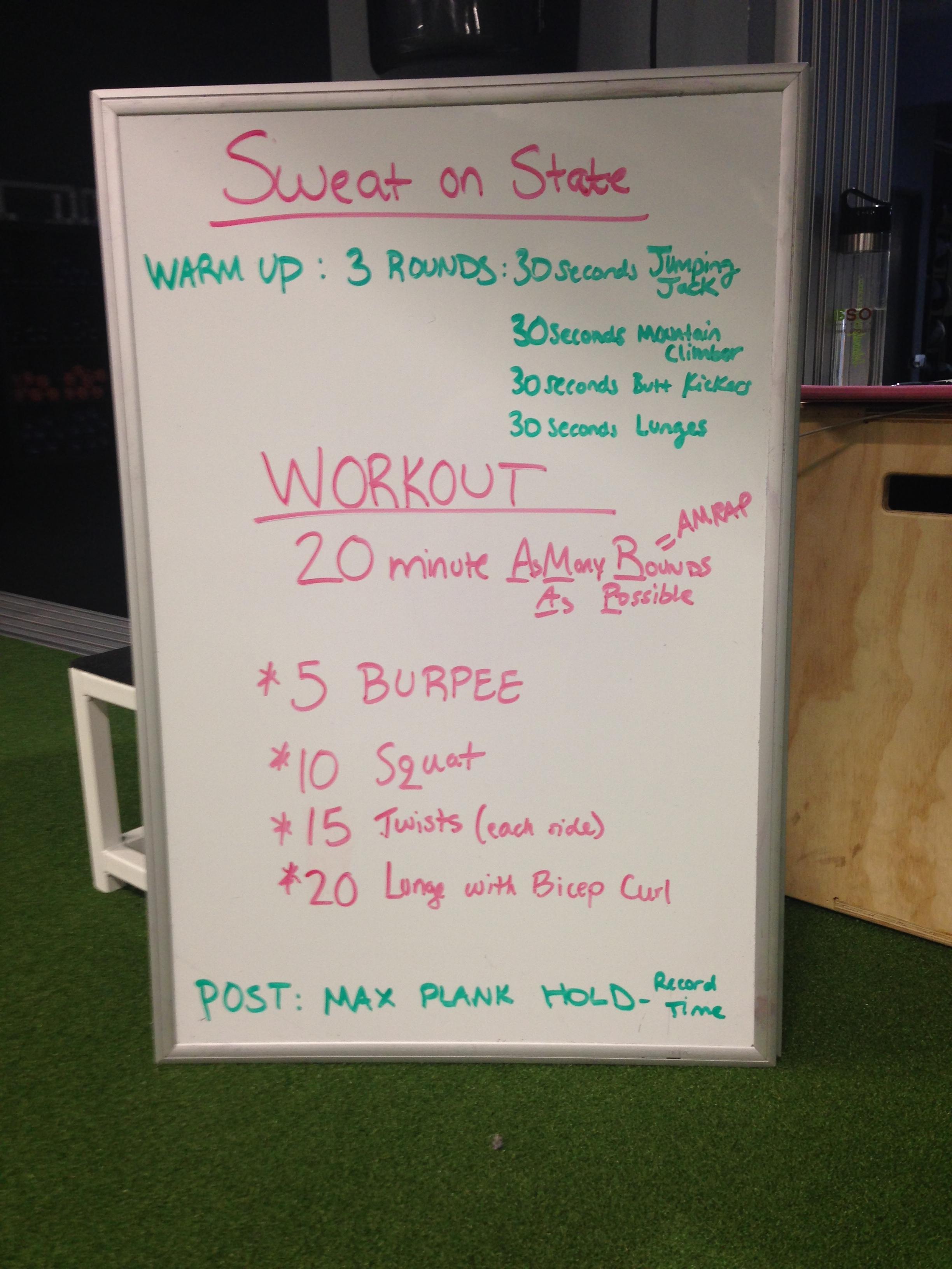 Sweat on State workout