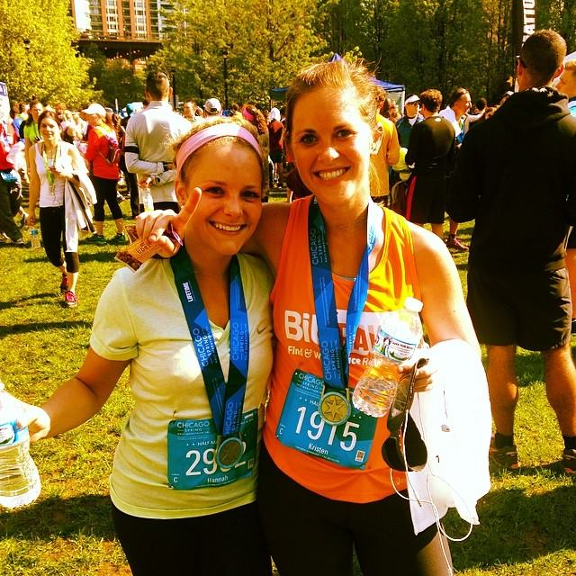 kristen and hannah chicago spring half marathon