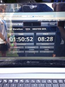 kristen geil results chicago spring half marathon