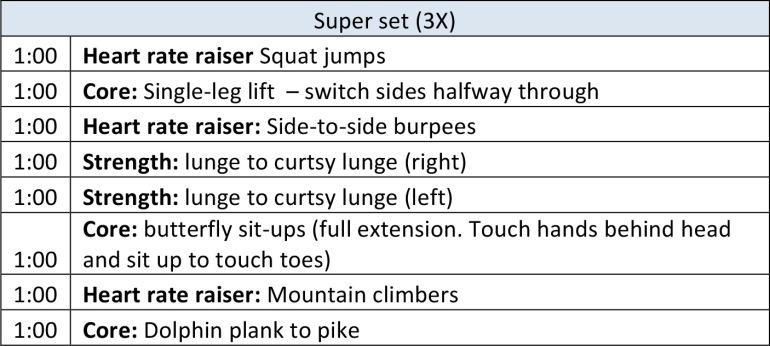 Super set workout at home